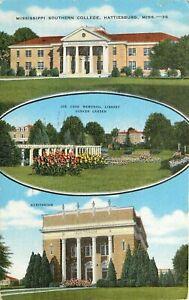 Mississippi Southern College Hattiesburg MS Multi pm 1955 Postcard