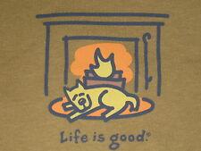 LIFE IS GOOD WOMEN'S L/S FIREPLACE ROCKET T- SHIRT SIZE M