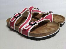 Birki's Birkenstock Sandals Red White Stripe Cross Strap Size 40 Buckle Open Toe