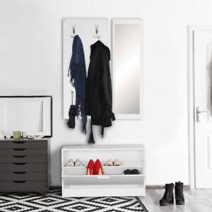 Wandgarderobe JANA mit Spiegel weiß Kompaktgarderobe Flur Komplettgarderobe Set