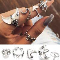 5pcs / set Vintage Ringe für Frauen Boho geometrische Silber Whale Tail Ring Set
