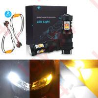 3157 3156 Dual Color Switchback White/Amber LED Turn Signal Lights+Resistors