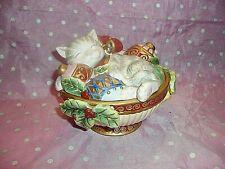 "Nib, ""2003 Fitz & Floyd Kristmas Kitty Lidded Porcelain Box / Jar / Candy Dish"""