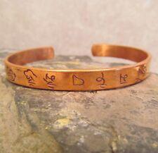 Tibetan Nepal Thin Copper Intricate Pattern Unisex Adjustable Cuff Bracelet