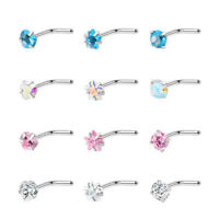 Punk Zircon Nose Stud Surgical Steel Nose Ring Lip Rings Body Piercing Jewelry