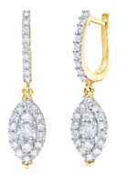 1 Ct White Diamond Marquise Dangle Earrings In 10K Yellow Gold -IGI-