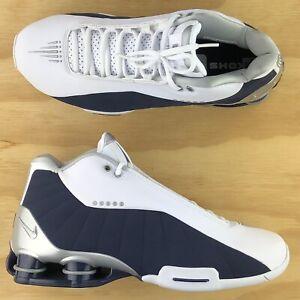 Nike Shox BB4 OG Olympic Vince Carter White Navy Basketball Shoes AT7843-100 Sz