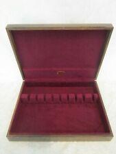 Silverware Chest Vintage Wood Case 9 & 12 Slot Purple Felt Lined Tarnish Proof