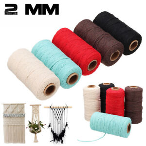 100Yards Thread Braided Cotton Rope Crafts Macrame Cord String Twisted DIY Gift