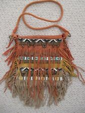 Free People Clay Suede Fringe Beaded Sundown Crossbody Handbag
