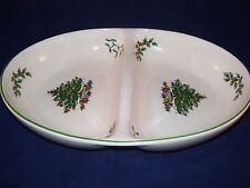 Spode Christmas Tree Oval Divided Vegetable Bowl Dish S3324-A14 Porcelain