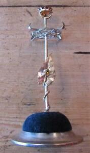Attractive Vintage Hat Pin Stand & Ring Holder, Leaf Design with Orange Stones.