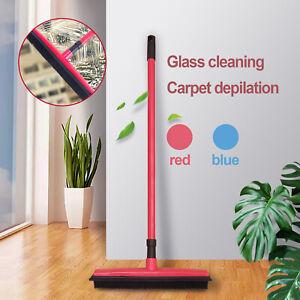 2in1 Rubber Broom Brush Pet Hair Remover  Bristle Carpet Cleaning Broom