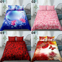 3D Rose Single/Double/Queen/King Bed Quilt/Doona/Duvet Cover Set Pillowcase