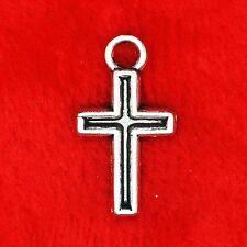 10 X De Plata Tibetana Halloween Lindo encanto Cruz Colgante Molduras fabricación de joyería