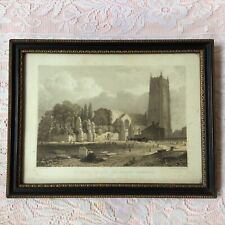 Antique Steel Engraving Of Saint George's Church & Priory Chester. Framed C.1838