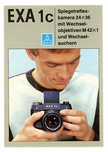 PENTACON Kamera Prospekt EXA 1c von 1985 Spiegelreflexkamera Broschüre (Y761