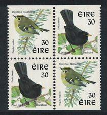 Ireland Birds Goldcrest Blackbird Chalk-surfaced paper Block of 4 MNH