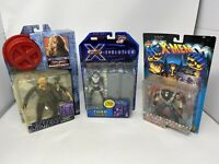 Lot of 3 X-Men Vintage Toy Biz Action Figures Marvel MOC New - Sabretooth, Toad