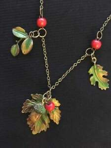 Autumn Leaf Necklace Acorn Berry Pagan Wicca Mabon Leaves Berries Bronze Fall