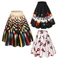 Women's Vintage Floral Print Elastic High Waist Pleated Midi Skater Circle Skirt