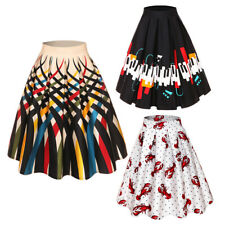 Women's Vintage Floral Print Elastic High Waist Pleated Midi Skater Circle Skirt