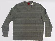 Alfani RED Mens Sweater 2XL Slim Fit Grey Gray Striped V Neck Pullover XXL