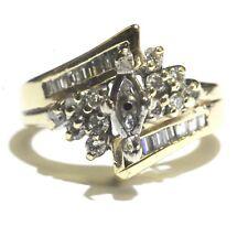 14k yellow gold .40ct baguette round diamond semi mount engagement ring 5.5g