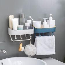 Estante de almacenamiento de baño de cocina montado en la pared ganchos para