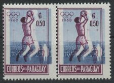 """C860 PARAGUAY 1960 Olympic Football printing error """"White silhouette of players"""""""