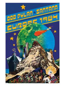 Bob Dylan - Santana European Tour Poster reprint (1984)