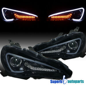 For 2012-2017 Toyota 86 Scion FR-S Glossy Black Projector Headlights