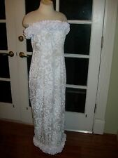NEW WHITE STRAPLESS HAWAIIAN MUUMUU HULA WEDDING DRESS XS