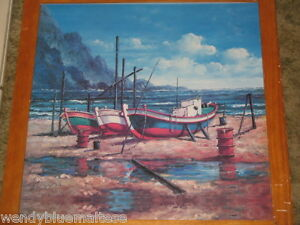 Fishing Boats Moored in a Cove by Lynn Framed Print 56.5cm Square Circa 1970's