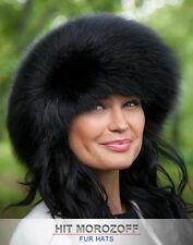 Black FOX Fur Roller Hat Winter Schapka Pelzmütze Fellmütze Fuchs Wintermütze