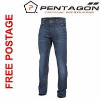PENTAGON TACTICAL  ROGUE JEANS PANTS MENS WORK TROUSERS COMBAT INDIGO BLUE NEW
