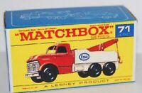 Matchbox Lesney No 71 Heavy Wreck Truck Esso Repro F style Empty Box june