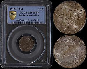 DANISH WEST INDIES 1/2 CENT 1905-P GJ (PCGS MS65BN) *PREMIUM QUALITY*