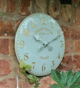 Garden Station Wall Clock Grey Indoor Outdoor Hand Painted Church Clock Arabic