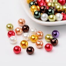 Luster Pearlized Glass Pearl Beads Mixed Color 8mm Hole 1mm 100pcs/bag Crafting