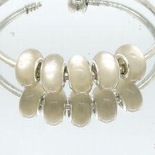 5pcs Silver Cat's Eye European Charm Beads Fit Necklace Bracelet DIY V250