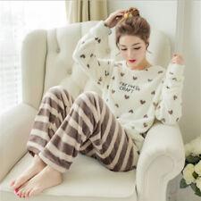 Damen Nachtwäsche Flanell Pyjama Winter Schlafanzug Hausanzug Warm Herz Streifen