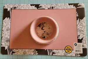 Whisker City Brand: New Pink Floral Cat Food Bowl & Matching Placemat, Free Ship