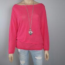 Ann Taylor LOFT Blouse Womens Large Coral Orange Knit Stripe Long Sleeve