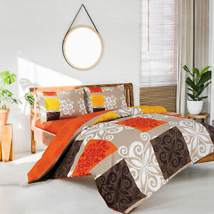 Sueno Orange Queen/King Quilt Cover Set includes Fitted Sheet-%100 Luxury Cotton