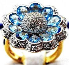 5.50 Carats Natural  Blue Topaz and Diamond Sunflower 14K Solid Yellow Gold Ring