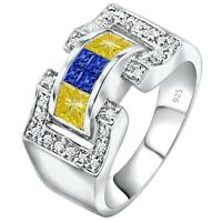 Men's Real Sterling Silver .925 Blue Yellow CZ Stones Ring Sizes 6-14 /Gift Box