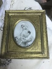 Vintage Florentine 1940's Picture Frame With Madonna And Child  Wood Gilt