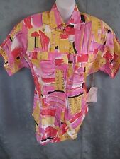 Chloe & Chyna Oversized Shirt Size 4 Bright Abstract Print NOS Linen Blend NWT