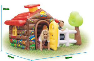 Inflatable Bouncy Castle House- Log Cabin with Garden